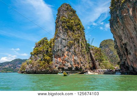Beautiful of James Bond island and Khao ping gun a large limestone rocks in Phang Nga bay near Phuket Thailand