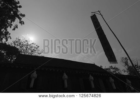 Paper Lantern Decorating On Ancient Lanna House And Lanna Flag, Black And White