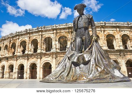 Roman Amphitheater in Nimes, Provence, southern  France