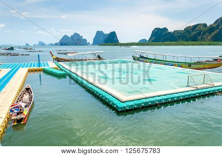 The only one floating football pitch in Thailand at Phang nga bay