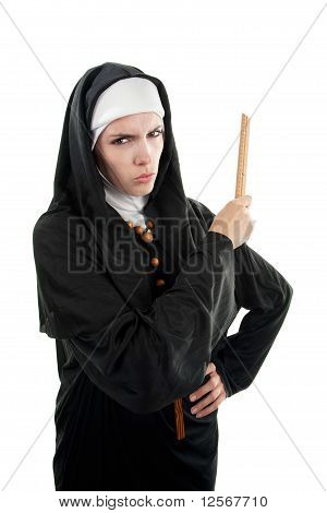 Angry Nun With Ruler