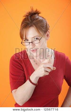 Woman Points Her Finger