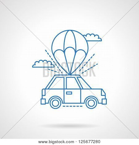 Parachute with car in a sky. Abstract symbol for car services, car insurance.  Flat blue line style vector icon. Single design element for website, business.