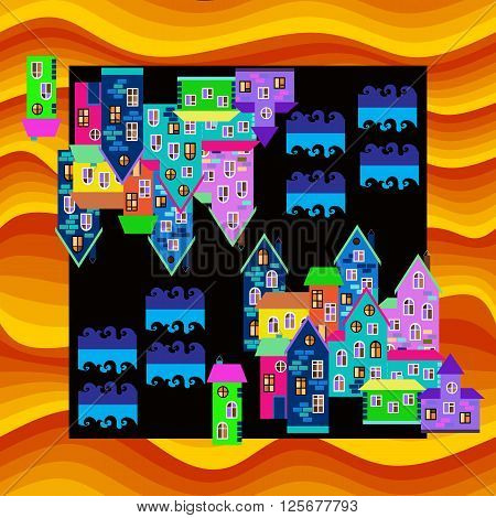 Bright colorful bandana print or silk neck scarf. Card with town in desert. Mirage. Vector illustration.