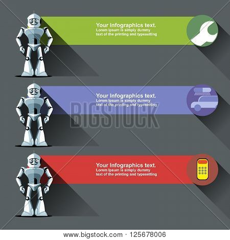 Three silver humanoid robots presenting info graphics with tools cars and calculators. Digital background vector illustration.