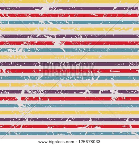 Grunge horizontal striped pattern in retro style. Coloful vector illustration for your design