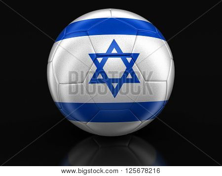 Soccer football with Israeli flag. Image with clipping path