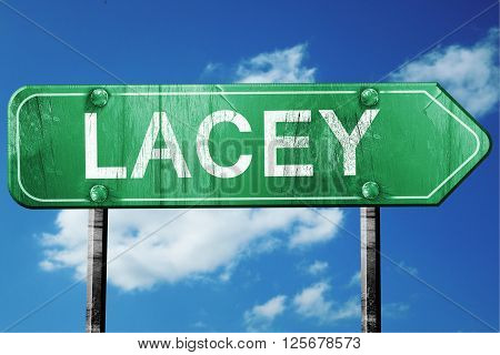 lacey road sign on a blue sky background