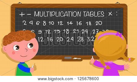 Two cartoon children writing multiplication tables on black board