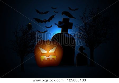 Halloween night with creepy cemetery pumpkin trees bats and raven. Vector illustration.