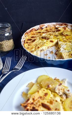 Potato gratin in white plate with cream, eggs and cheese on dark wood background. Casserole dish with gratin on back