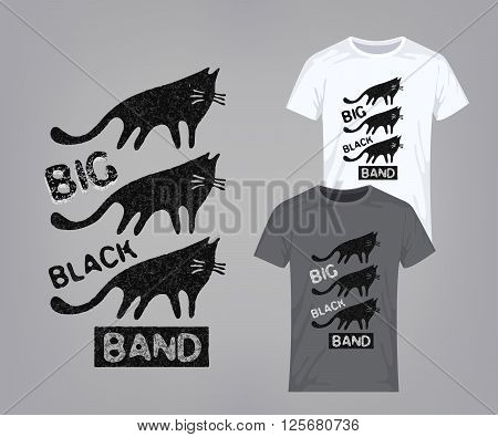 Invasion of the black cats. Vector retro design for printing on T-shirts. Vector illustration.