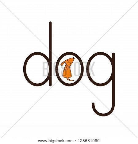 Lettering dog with puppy inside letter o isolated on white background. Logo template. Design element
