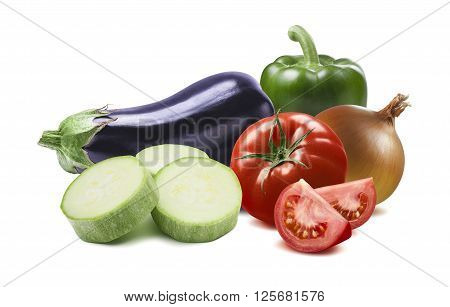 Ratatouille ingredients green pepper aubergine tomato onion isolated on white background as package design element