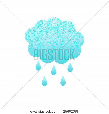 Shabby blue colored cloud and rain drops isolated on white background. Logo template design element