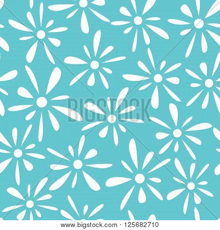 Seamless pattern of white florets petals on blue background