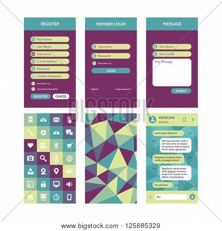 Mobile interface vector template in flat style for material design projects. UI kit elements. Register & login form, message, chat template. Vector icons set. Abstract polygonal background.