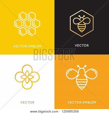 Vector Logo And Packaging Design Templates In Trendy Linear Style