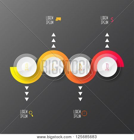 Step by step illustration. Infographics elements. Vector illustration can be used for workflow layout diagram number options web design.
