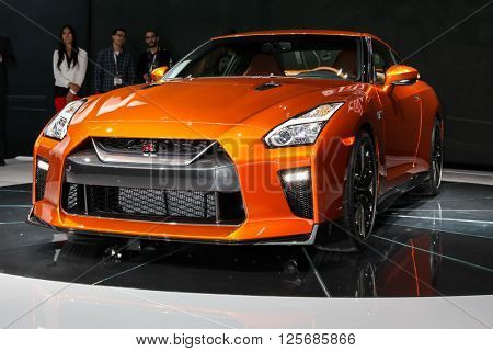 NEW YORK - March 23: A FNissan GT R unveiled at the 2016 New York International Auto Show during Press day,  public show is running from March 25th through April 3, 2016 in New York, NY.