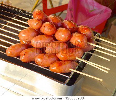 The Taiwanese sausage closeup at the market.