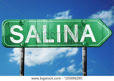salina road sign on a blue sky background