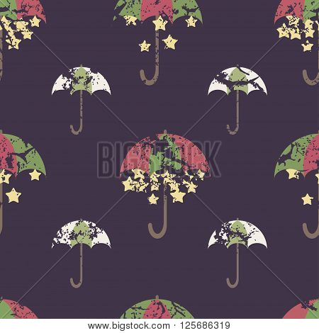 Stars are hidden under a bright umbrella seamless pattern. Vector illustration for your design.