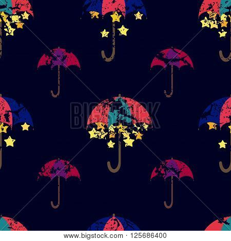 Stars are hidden under a bright umbrella seamless pattern. Vector illustration