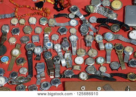 Kiev, Ukraine, April 10, 2016. Swap meet, collection of old watches