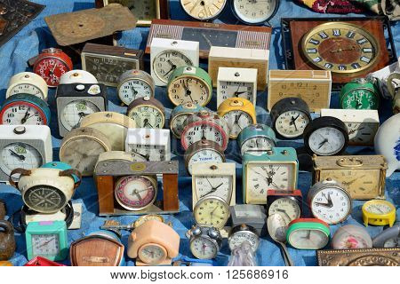 Kiev, Ukraine, April 10, 2016. Swap meet, collection of old alarm clocks