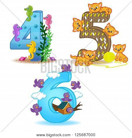 set of numbers with number of animals from 4 to 6 - vector illustration, eps