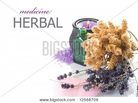 Herbal Medicine concept.Isolated on white