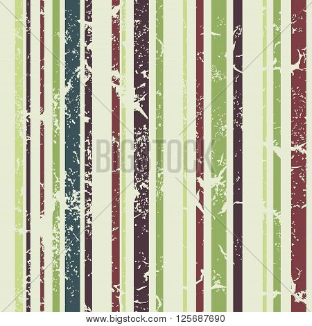 Grunge vertical striped pattern in retro style. Coloful vector illustration. Green
