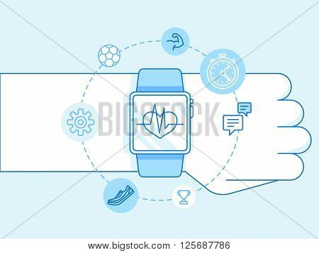 Vector Illustration In Trendy Linear Style And Blue Colors