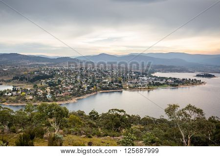 The view over Jindabyne and its lake on a cool summer's day in New South Wales, Australia