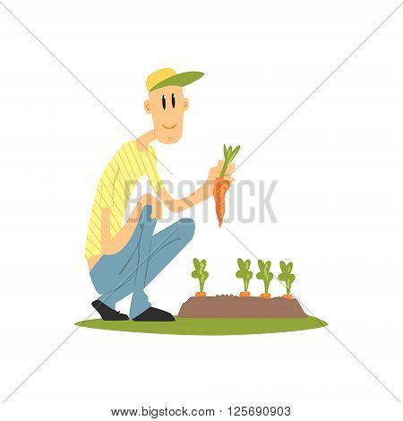 Guy Picking Carrots Flat Isolated Vector Image In Simple Childish Style On White Background