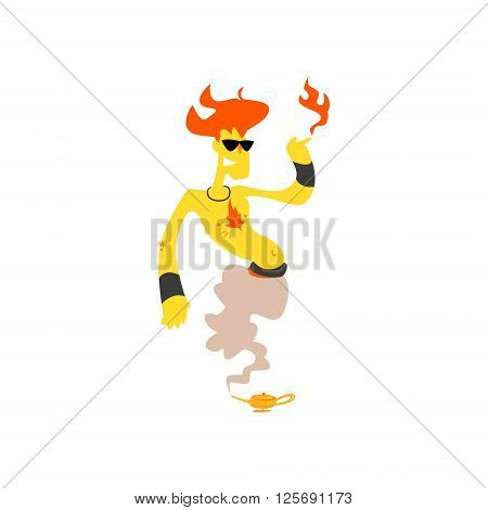 Fire Genie Isolated Flat Vector Illustration In Childish Cartoon Manner On White Background