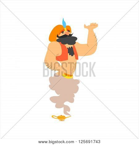 Classic Arabic Genie Isolated Flat Vector Illustration In Childish Cartoon Manner On White Background