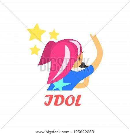 Japaneese Pop Idol Cartoon Style Flat Vector Illustration On White Background With Text