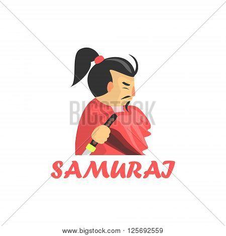 Samurai Cartoon Style Flat Vector Illustration On White Background With Text
