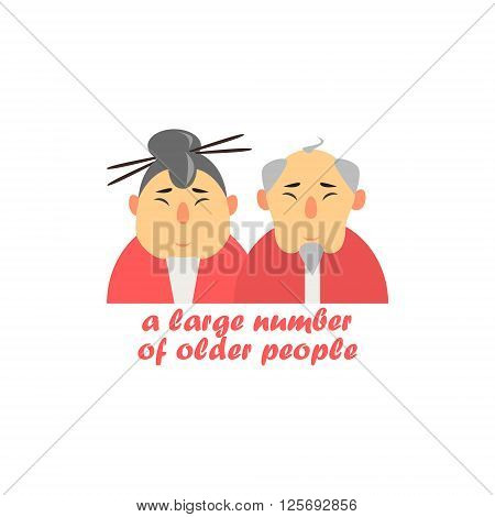 Old Couple Cartoon Style Flat Vector Illustration On White Background With Text