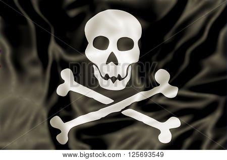 3D Pirate Flag waving, white skull and bones on black background