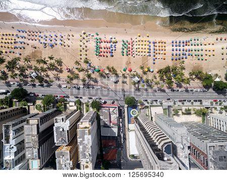 Top View of Boa Viagem Beach, Recife, Pernambuco, Brazil