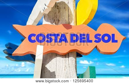Costa del Sol signpost with beach background