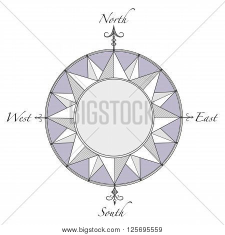 Compass Rose With Decorative Arrows Indicating North, South, East, West