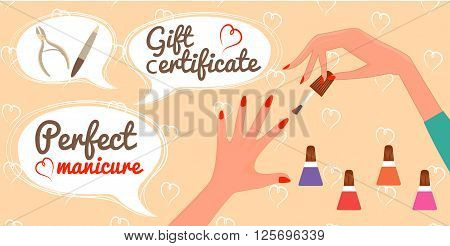 Gift Certificate Perfect Manicure Nail Salon vector Illustration
