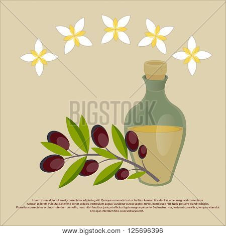 Organic olive oil Best quality olive flowers and bottle of olive oil