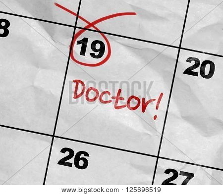 Concept image of a Calendar with the text: Doctor