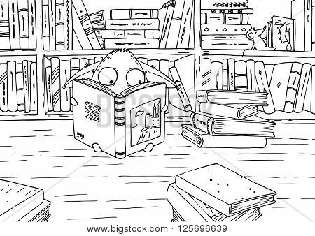 Coloring page for children. Little monster and his friend mouse reading books in library.