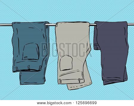 Folded Over Pants On Blue